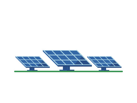 Solar panel on a white background. Flat style icon.