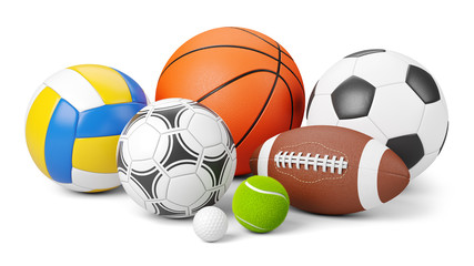 Sports shop logo. Group of balls the team games isolated on white background