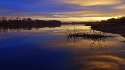 Fototapete - beautiful morning river landscape at dawn, 4k