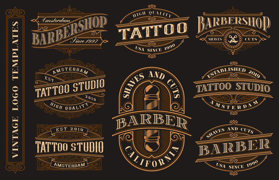 Big bundle of vintage logo templates for the tattoo studio and barbershop