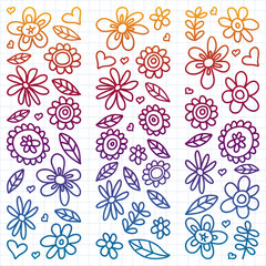 Vector set of child drawing flowers icons in doodle style. Painted, colorful, gradient, on a sheet of checkered paper on a white background.