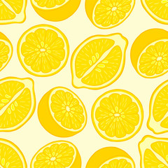 Seamless pattern of lemon slices.