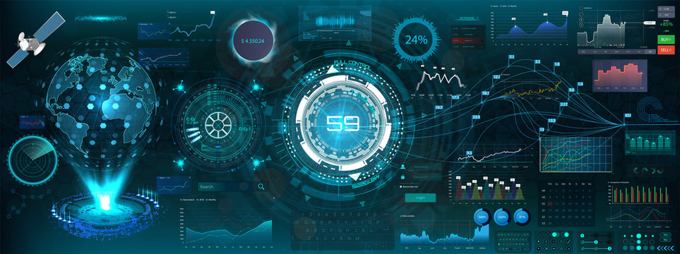 Abstract HUD elements for UI UX design. Futuristic Sci-Fi user Interface for app (space,dashboard, hologram, spaceship, medicine, finance, analytics) virtual graphic touch user interface in hud style