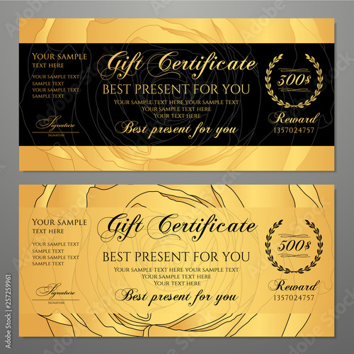 Gift Certificate Voucher Coupon Template With Flowers Roses Gold