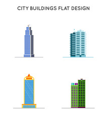 Vector Flat design of retro and modern city houses. Old buildings, skyscrapers.