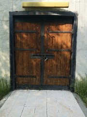 Vintage old wooden mid evil door