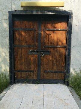 Vintage old wooden mid evil door