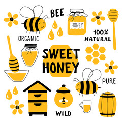 Honey funny doodle set. Beekeeping, apiculture: bee, hive, spoon, honeycomb, jar, pot. Hand drawn vector illustration. Cute cartoon organic food collection, isolated on white. Sweet honey title.