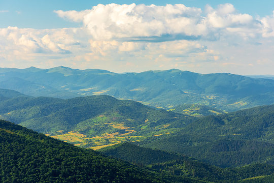 mountains, valleys and ridges of carpathians.  beautiful view of Beskid massif in summertime. Peaks of Bieszczady National Park in the distance.