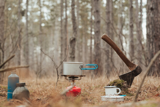 Axe and cooking in the camp