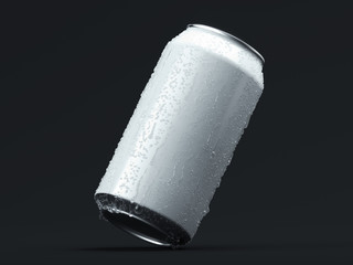 Aluminum beer or soda can with droplets isolated on black, 3d rendering.