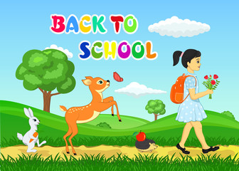 Back to school vector illustration with girl going to school with hedgehog, rabbit and fawn which playing with butterfly.