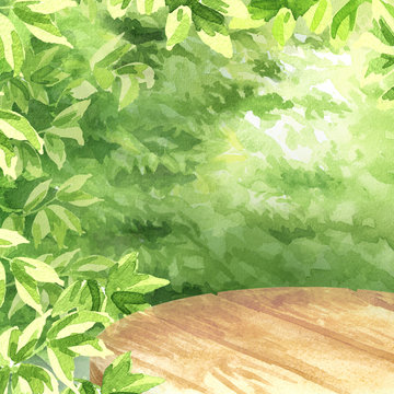 Empty table for your product, with Green leaves natural background Watercolor hand drawn illustration