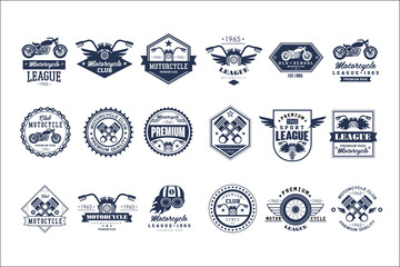 Motorcycle club logo template set, sport league retro vintage style emblems and badges vector Illustrations on a white background