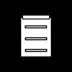 Flat monochrome medical report symbol for web sites and apps. Minimal simple black and white medical report symbol. Isolated vector white medical report symbol on black background.