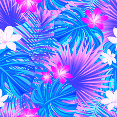 Fototapeta Spring floral background. Colorful tropical seamless pattern. tropic repeat texture. Exotic leaves, flowers. Vector wallpaper. Colored backdrop with jungle plants. Bright violet and purple colors.