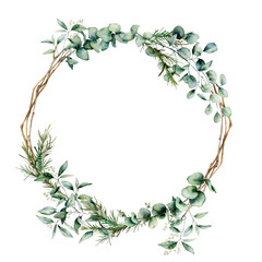 Watercolor eucalyptus branch wreath. Hand painted eucalyptus branch and leaves isolated on white background. Floral illustration for design, print, fabric or background.