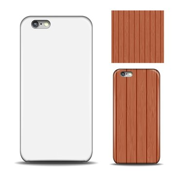 Phone cover. Reverse side of smartphone. Wood texture pattern for design. Mock up with an example. isolated on white background.