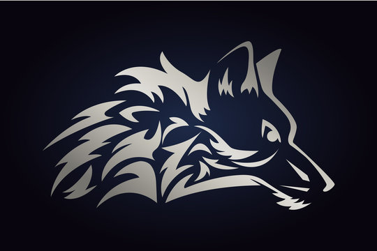 Silver wolf head silhouette. Side view of wild animal. Wolf vector logo for web and print on dark background.