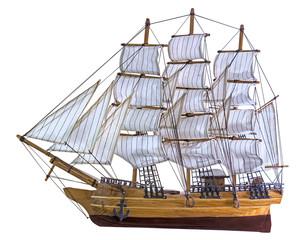 Türaufkleber Schiff Model sailing ship isolated on white background
