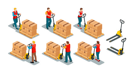 Men and women workers wearing work red uniform vest with manual pallet jack. Back and front view. 3d effect set. Isometric vector illustration isolated on white background.