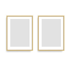 Realistic golden square photo frame. Vector