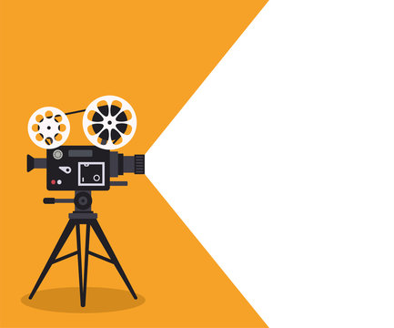 Retro cinema projector on poster. Vector