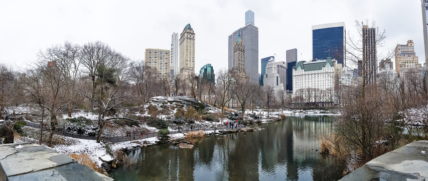 The Pond at Central Park Winter Panorama