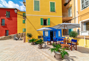 Colorful houses in Menton, France.