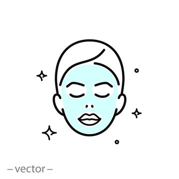 face mask sheet, skin care icon, beauty skin, woman's face linear sign on white background - editable vector illustration eps10 [преобразованный]