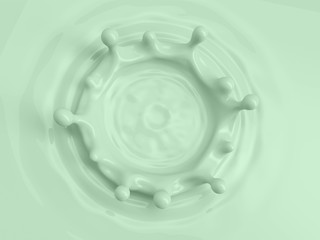 3d abstract background, liquid macro texture, splashing crown, green pastel color fluid, splash