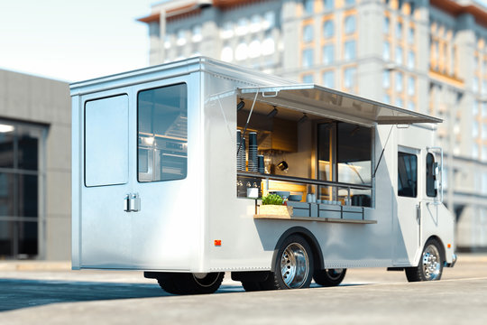 White food truck with detailed interior on street. Takeaway. 3d rendering.