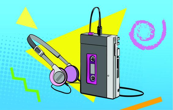 Portable Cassette Player Retro Vector Illustration