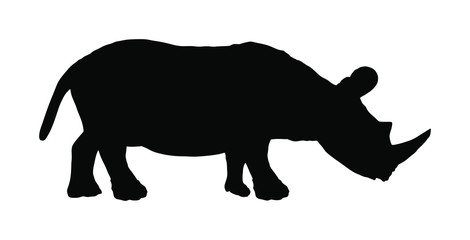 Rhinoceros vector silhouette illustration isolated on white background. Rhino silhouette. Animal from Africa.