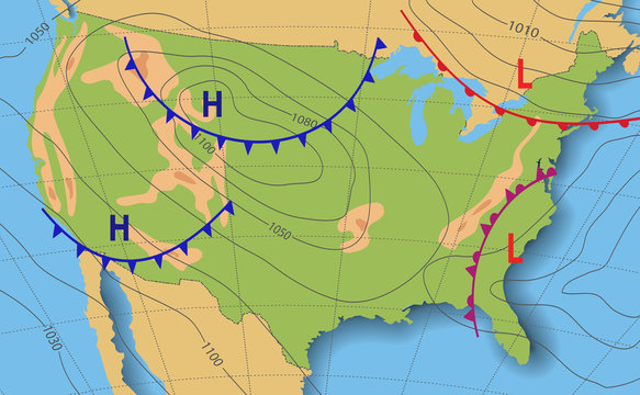 Weather forecast. Meteorological weather map of the United State of America. Realistic synoptic map USA with aditable generic map showing isobars and weather fronts. Topography and physical map.