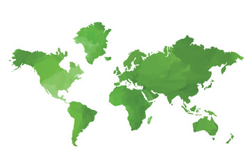 World map green artistic silhouette on white background Wall mural