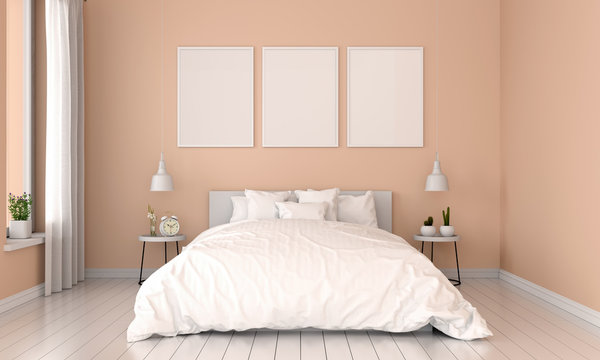Brown bedroom interior and three empty photo frame for mockup, 3D rendering