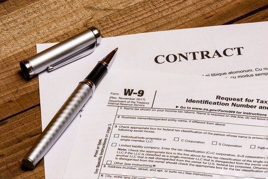 IRS form W-9 and a contract