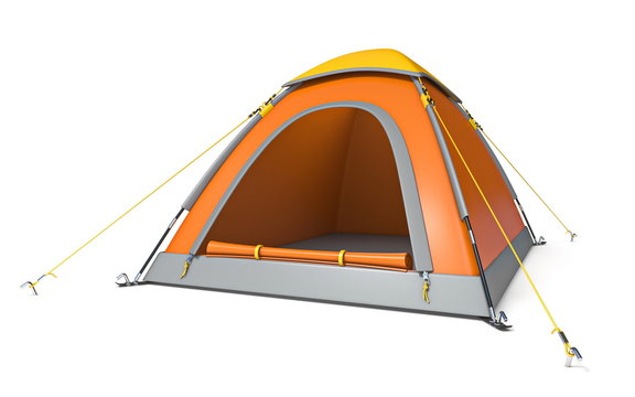 Orange yellow camping tent side view 3D