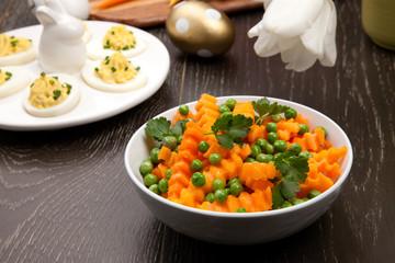 Butternut Squash with Green Peas Sidedish