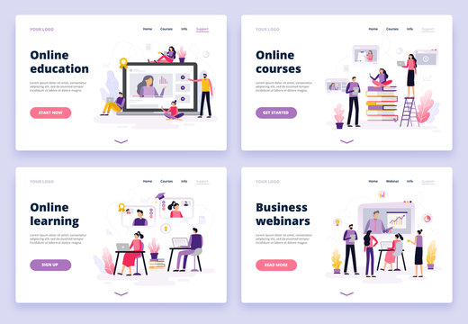 Online education. Women and men working with laptop, listen to a podcast, watching video and presentation. Set of banners and backgrounds for site or landing page. Vector illustration