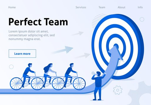 Perfect Team Cooperation Flat Banner for Business