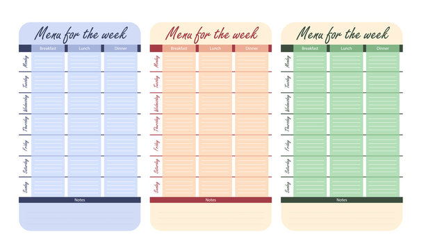 3 color menu options for the week. template for food diary. meal plan for the week vector