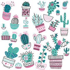 Set of cute doddle cactuses and succulents