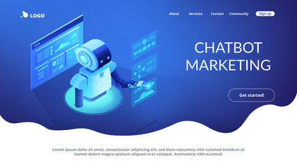 Automated data analysis isometric 3D landing page.