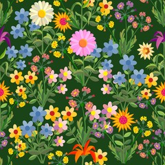 Floral seamless texture. Flowers and leaves on a dark background.