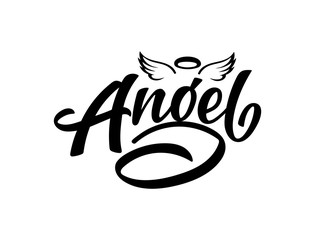 """Vector lettering illustration of """"Angel"""" with wings and nimbus text for clothes. Lucky for badge, tag, icon, print. Inspirational quote. Calligraphic background. Celebration typography poster."""