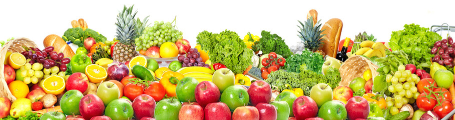 Wall Mural - Fruits and vegetables background
