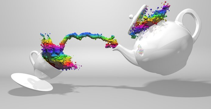 Front view of a white teapot pouring a spray of paint with the colors of the rainbow to a white cup splashing the liquid while jumping on a plate on white background. 3D Illustration