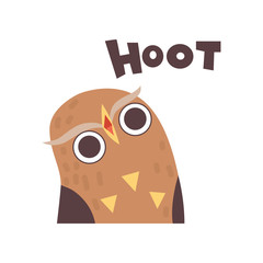 Cute Owl Hooting, Wild Cartoon Bird Making Sound Vector Illustration